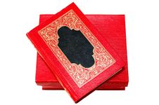 Free Red Cover Book With Golden Ornament In Red Box. Stock Photo - 6886170