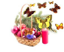 Free Ornaments In Yellow Basket And Butterflies Stock Image - 6886831