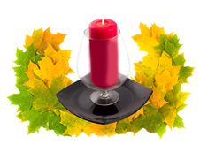 Wreath With Wine Glass On Black Plate Stock Photography