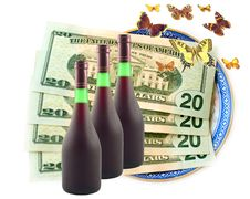 Butterflies Fly Dollars And Wine Royalty Free Stock Photos