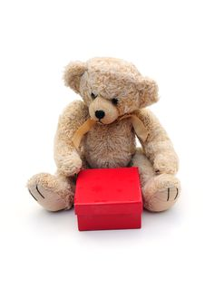 Free Bear With Present Stock Photos - 6887003