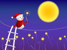 Free Snowman Walking In Starry Sky Stock Photo - 6887050