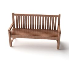 Isolated Wood Bench Royalty Free Stock Photo