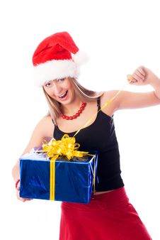 Free Happy Girl Opening A Present Royalty Free Stock Photos - 6887488