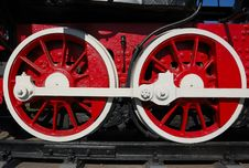 Wheels Of Vintage Locomotive Stock Photography