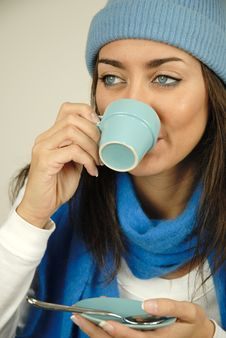 Free Drinking From Her Cup Of Coffee Royalty Free Stock Photos - 6888288