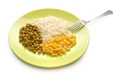 Free Vegetarian Food: Rice, Green Peas And Corn Royalty Free Stock Image - 6888436