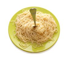 Free Spaghetti Around Fork On Green Plate Royalty Free Stock Image - 6888486