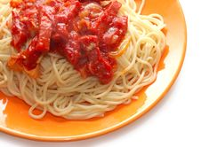 Free Spaghetti With Meat In Ketchup On Orange Plate Stock Photos - 6888553