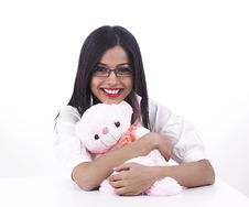 Free Female With Teddy Bear Stock Images - 6889204