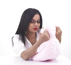 Free Girl Playing Her Pink Teddy Bear Royalty Free Stock Image - 6889206
