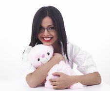 Girl With Her Pink Teddy Bear Stock Images