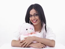 Free Maiden With A Pink Teddy Bear Royalty Free Stock Photo - 6889215