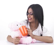 Free Asian Girl With Her Teddy Bear Stock Photos - 6889223