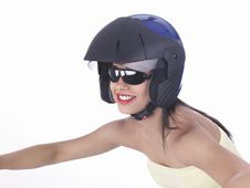 Free Asian Biker Girl With A Helmet Stock Photos - 6889333
