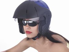Free Asian Biker Girl With A Helmet Stock Photo - 6889380