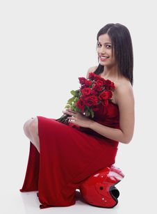 Free Female With A Bouquet Of Roses Stock Photo - 6889500
