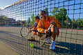 Free Tennis Players At The Net Royalty Free Stock Photo - 6895605