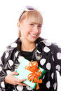 Free Stylish Woman With A Present In Her Hand Stock Photo - 6899060