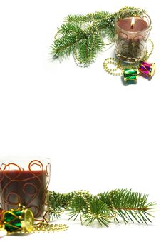 Free Christmas Card. Candles And Decoration Stock Image - 6890691