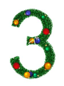 Free Numeral From Christmas Decoration - 3 Royalty Free Stock Photography - 6890977