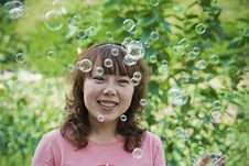 Girl And Soap Bubble Royalty Free Stock Photo