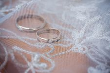 Free Wedding Rings Under The Lace Stock Photo - 6891210