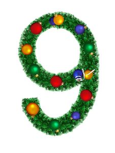 Free Numeral From Christmas Decoration - 9 Royalty Free Stock Image - 6891266