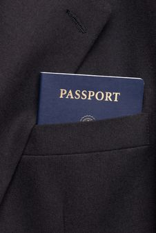 Business Suit Coat With Passport Royalty Free Stock Images