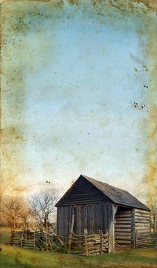 Free Wooden Shed On Grunge Background Royalty Free Stock Photo - 6892055