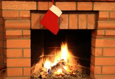 Free Fireplace With Christmas Sock Stock Photo - 6892620