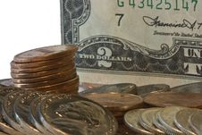 Closeup Of Two Dollar Bill With Loose Change Stock Images