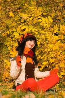 Free Young Woman In The Autumn Park Stock Images - 6894464