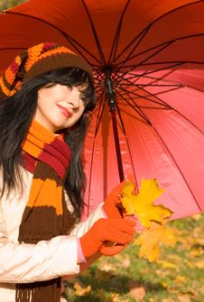 Free Young Woman In The Autumn Park Stock Photo - 6894600