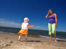 Mother With Her Daughter During Vacation Royalty Free Stock Photos