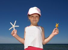 Free Girl With Starfishes Stock Photo - 6895710