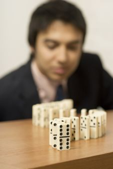 Man With Dominos Royalty Free Stock Image