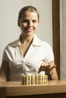 Woman With Dominos Royalty Free Stock Photos