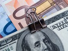 Free Binded Dollars And Euros Stock Photography - 6896132