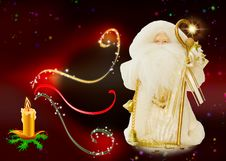 Free Santa And Magic Christmas Candle - Room For Text Royalty Free Stock Image - 6896496