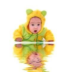 Close-up.  Portrait Of A Crawling Toddler Stock Photography