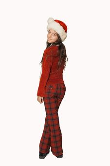 Free Standing Young Teenager With Santa Claus Hat. Royalty Free Stock Photo - 6898055