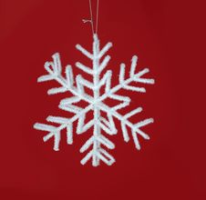 Glittery White Hanging Star Ornament Stock Photography