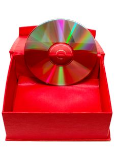 Compact-disk (CD Or DVD) And Red Cardboard Box. Stock Image