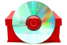 Free Compact-disk (CD Or DVD) And Red Cardboard Box. Royalty Free Stock Image - 6899176