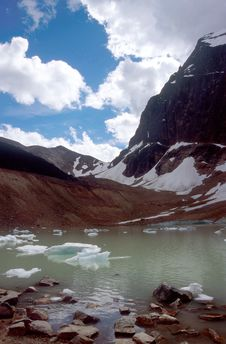 Glacial Lake At Angel Glacier Stock Photos