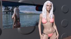 3D Render Of Sexy Future Girl In A Pink Bikini Made In Daz 3D Studio 4.9 Stock Photography