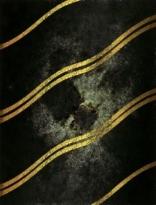 Black Shabby Background With Gold Stripes. Template For Design. Copy Space For Ad Brochure Or Announcement Invitation, Abstract Ba Stock Images