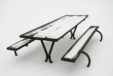 Free Picnic Table In White Stock Photography - 691112