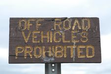 Free Off Road Vehicles Prohibited Stock Photos - 692483